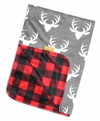 deluxe blankets antlers buffalo plaid