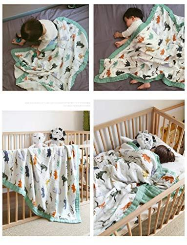 "Dinosaur Toddler - Bamboo Boys x 47"" 2 Layers Baby Boy Blanket Stroller Blanket"