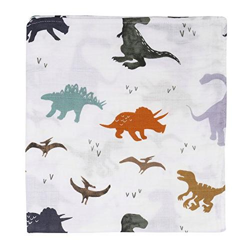 "Dinosaur Toddler Bamboo Baby for Boys - Oversized x 47"" - Layers Baby Boy Blanket Stroller"