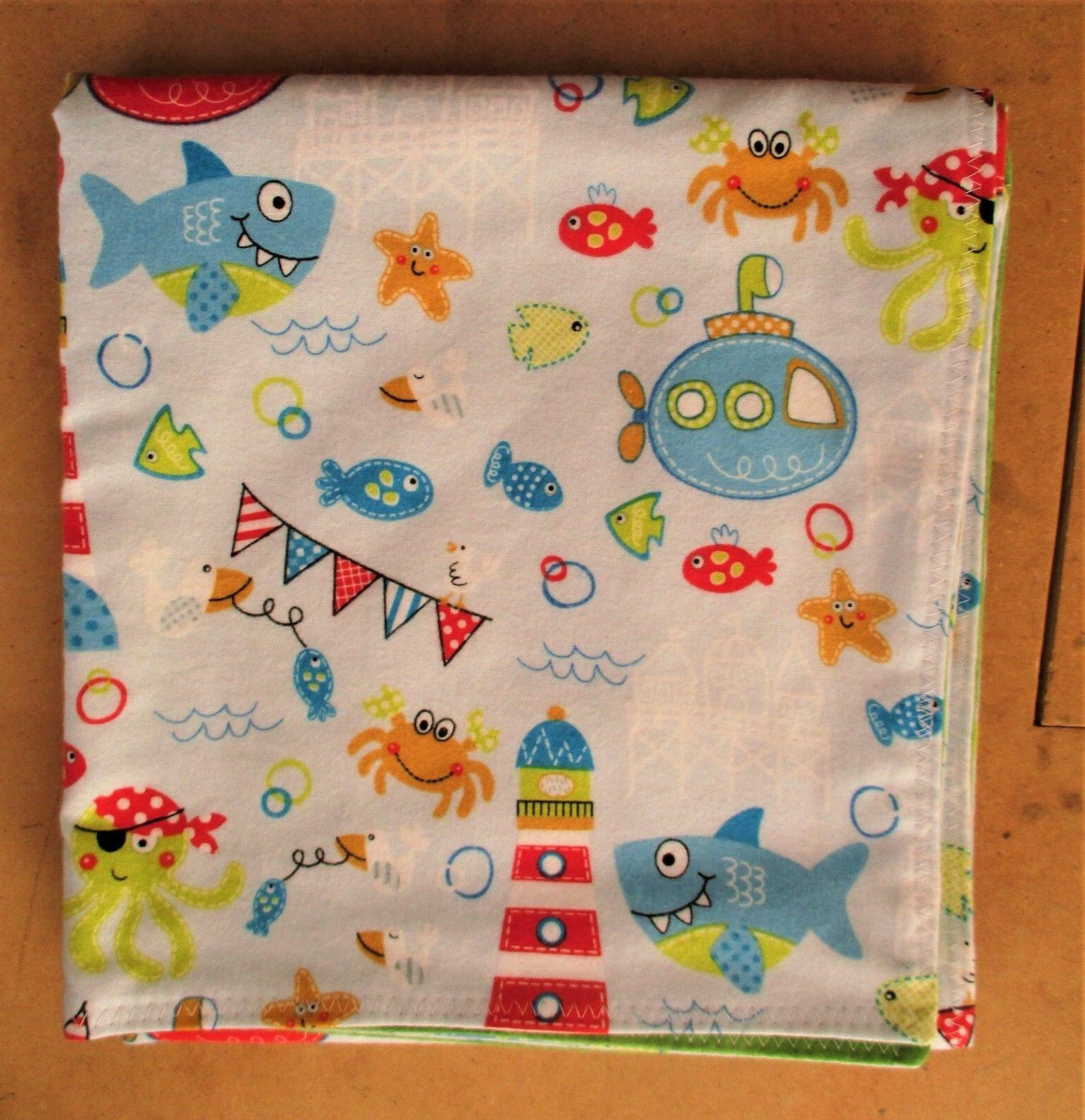 Handmade Double Flannel Baby/Toddler Blanket Sea Creatures S