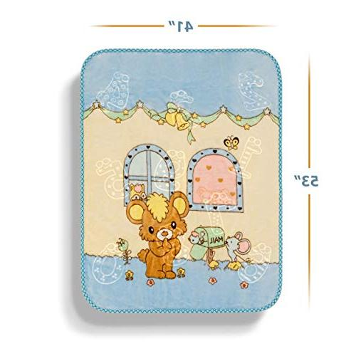 """Extremely Baby Blanket – Crib and for Newborn Infants, and Kids - Fluffy and Breathable Nursery Cover 53"""" - Blue"""