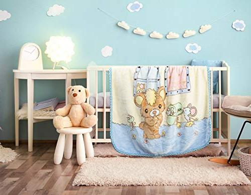 """Extremely Baby Blanket Crib for Toddlers Fluffy Nursery 53"""" - Blue"""