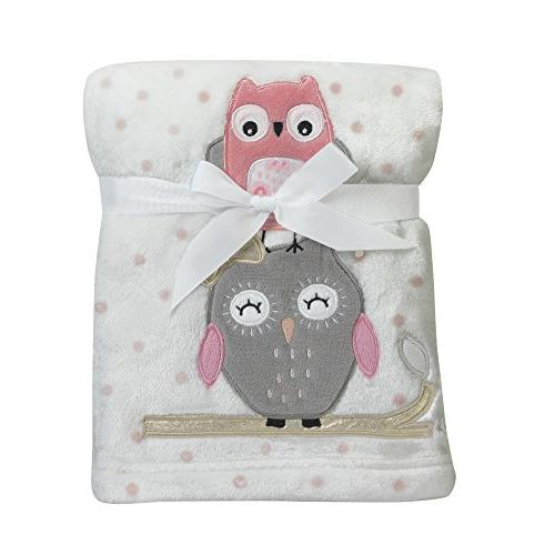 Lambs & Ivy Family Tree Coral/Gray/Gold Owl Blanket