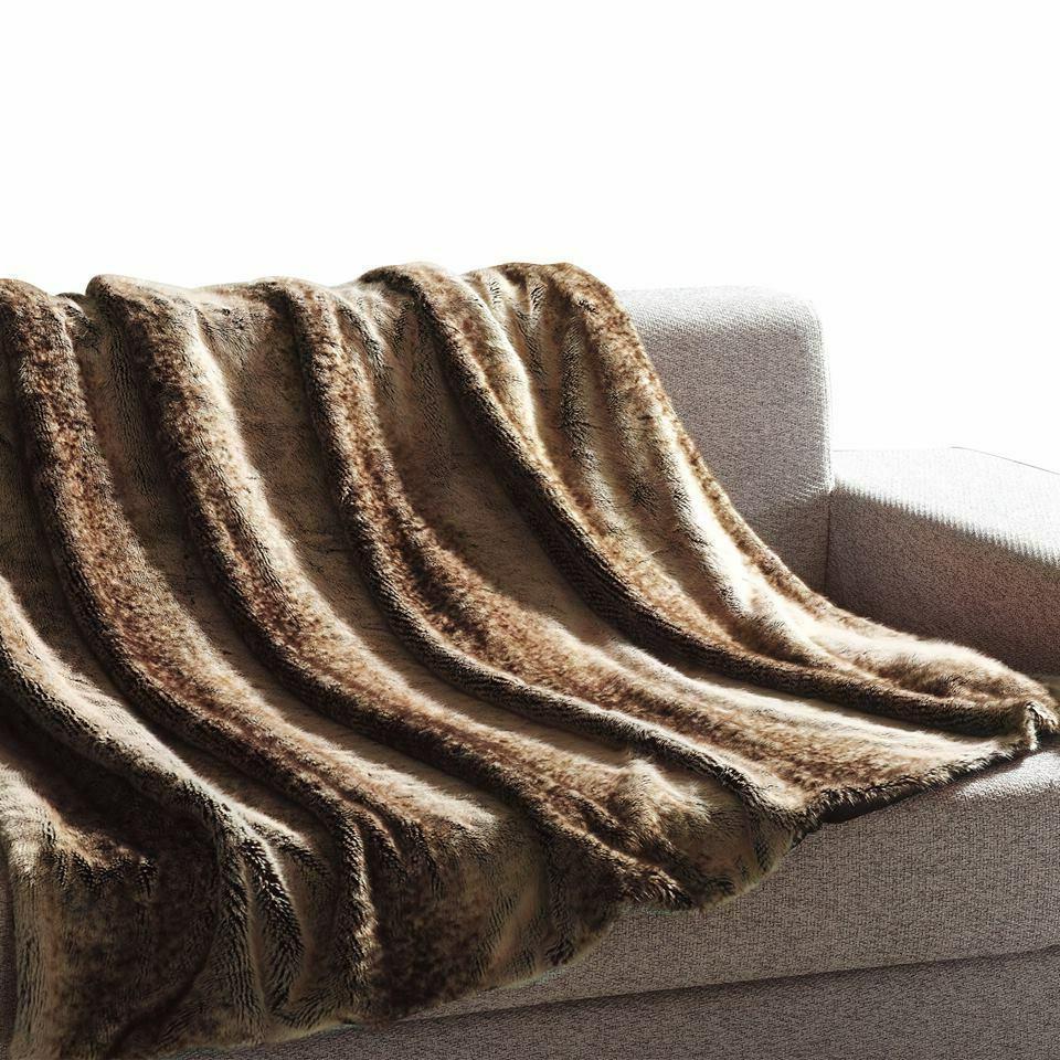 """Mellanni Faux Fur Throw Blanket 50""""x60"""" Decorative, Fluffy,"""