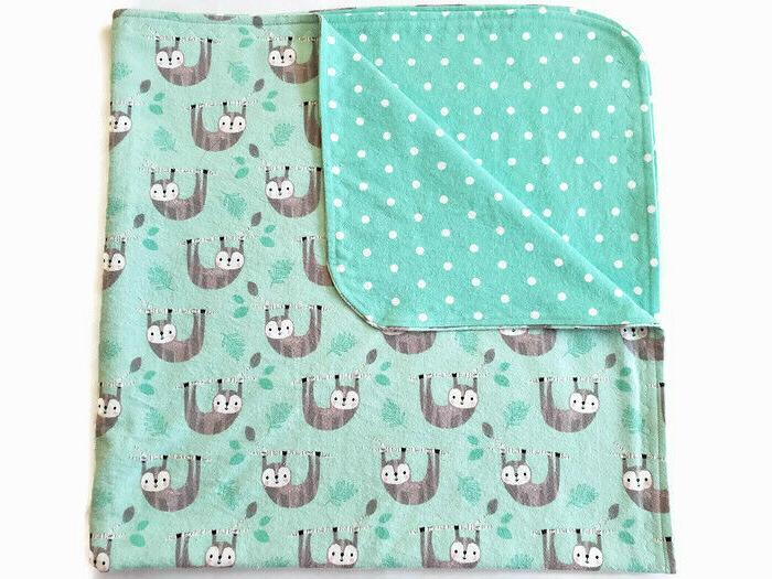 """Flannel Blanket Baby Or Toddler Sloth Design 37"""" Square Doub"""
