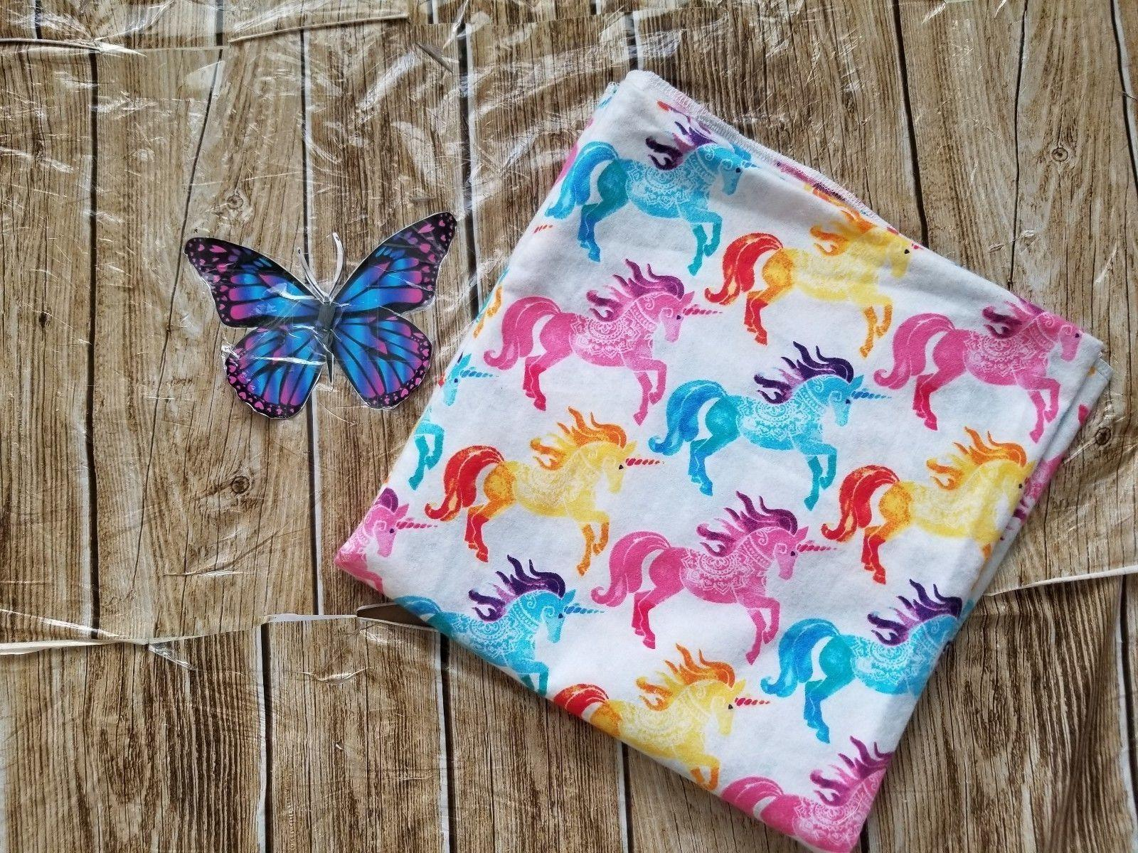 flannel colorful unicorn print receiving baby blanket