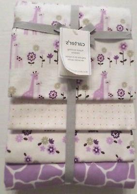 Carter's 4 Pack Flannel Receiving Blanket - Lilac Giraffe