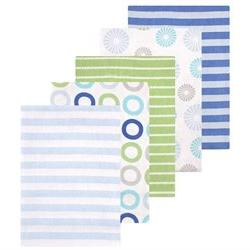 Luvable Friends 5 Pack Flannel Receiving Blankets - Blue Pin