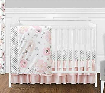 floral print baby girl crib bedding set