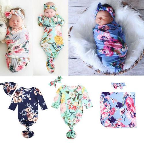 US Flower Newborn Baby Girl Swaddle Wrap Blanket Sleeping Ba