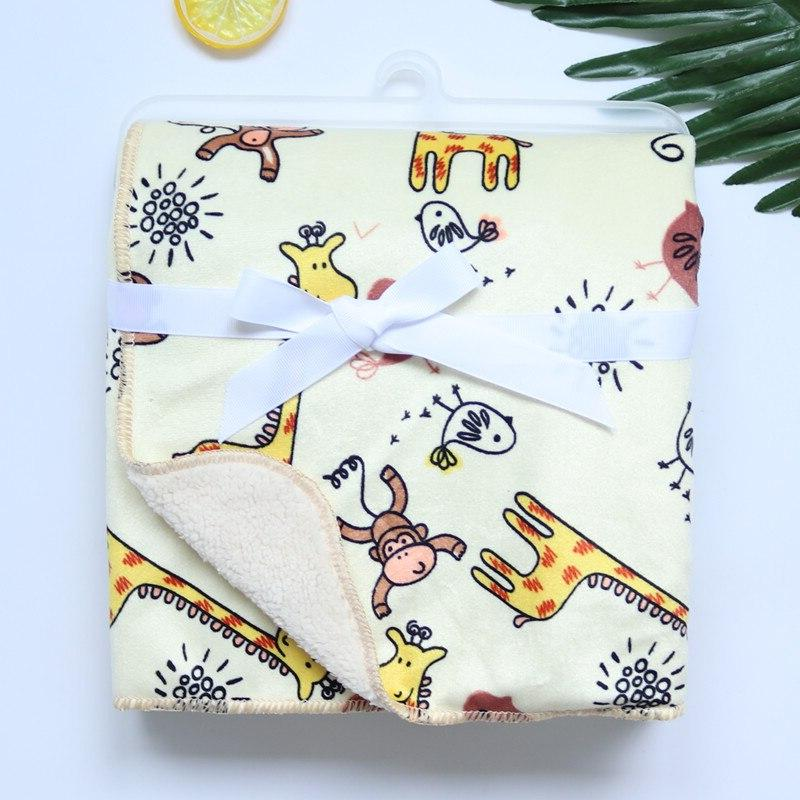 <font><b>Baby</b></font> New Double Coral Infant Swaddle Bebe Wrap Printed Newborn <font><b>Baby</b></font> Bedding