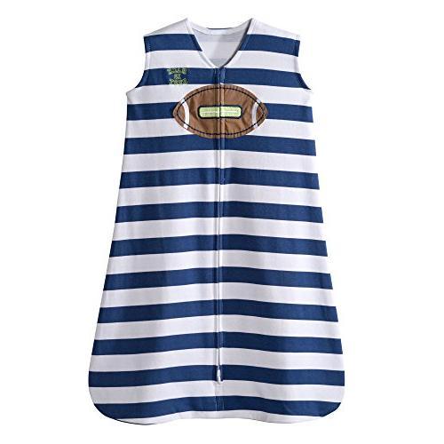 football navy stripe sleepsack wearable