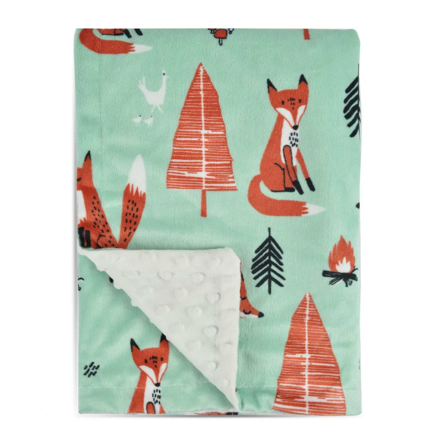 fox baby blanket soft minky with double