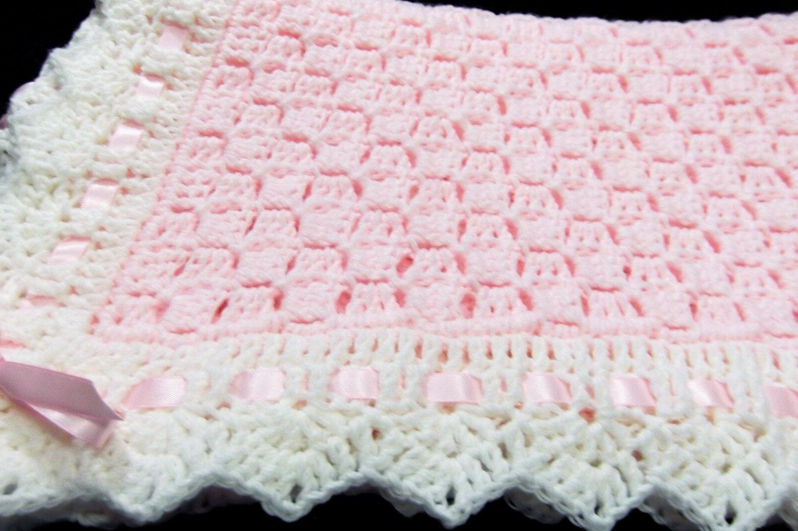 Girl Baby Blanket Soft PINK - white trim Hand Made Crochet N