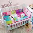 Baby Girl Blue, Green, Pink Owl Nursery 6 Pieces CRIB BEDDIN