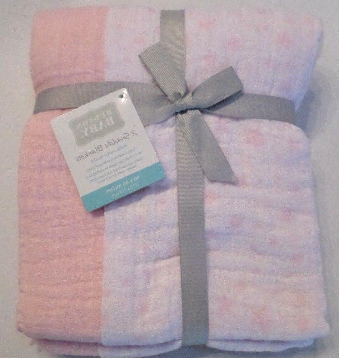 Hudson Baby Girls 2 Pack Muslin Swaddling Blankets Stars/Sol