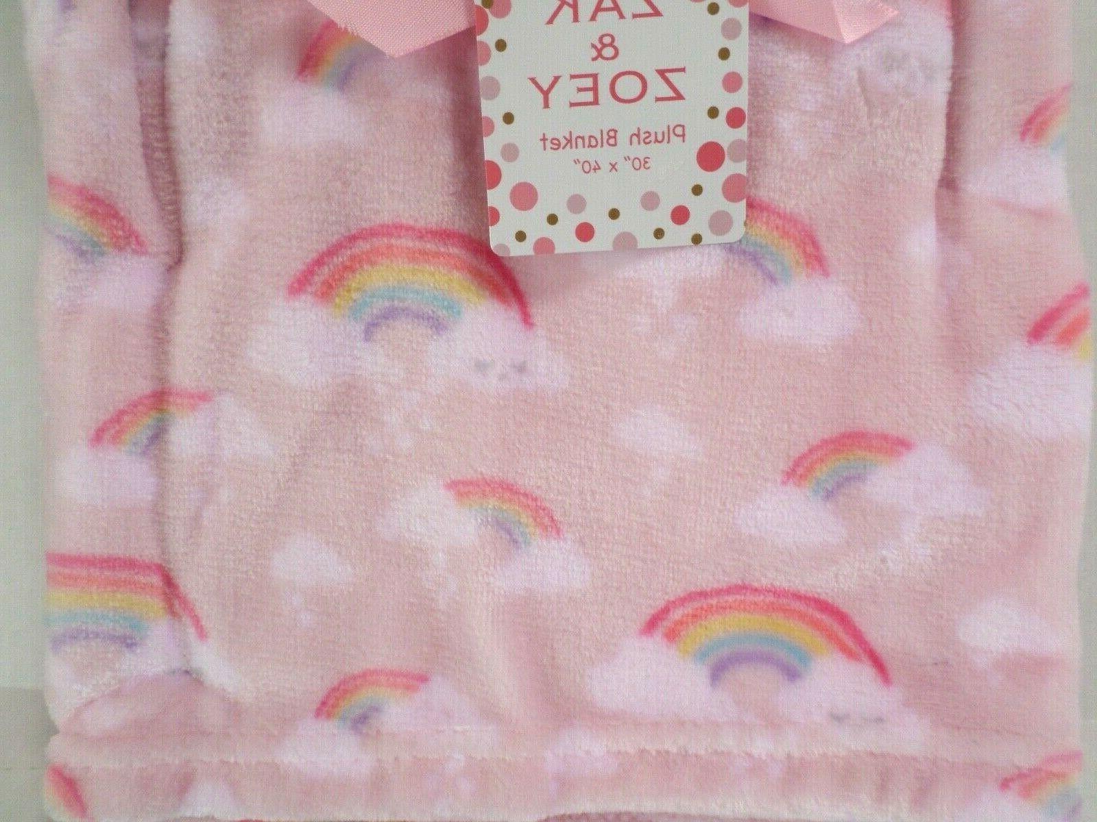 Zak & Girls Rainbow Print Baby Blanket Lightweight Lt Pink/Multi
