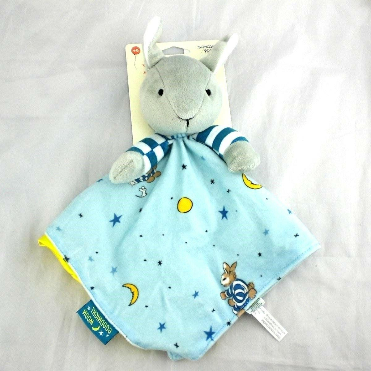 Goodnight Moon Grey Plush Bunny Baby Security Blanket NEW 15