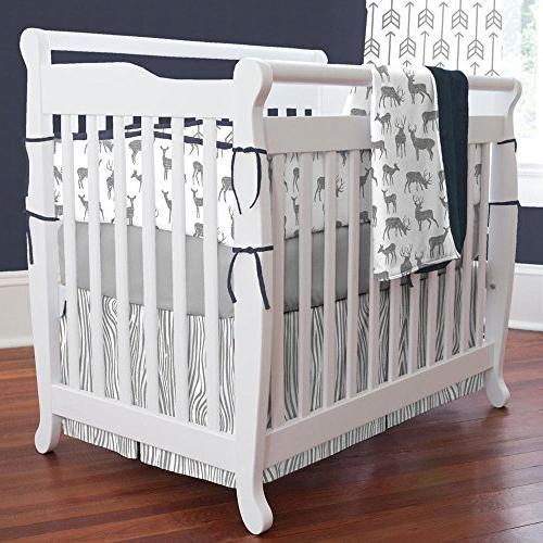 gray navy deer mini crib