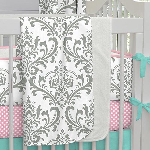 gray traditions damask crib blanket