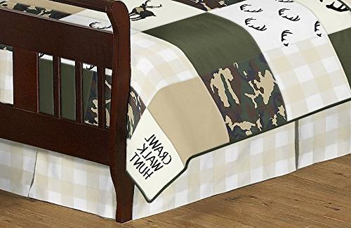 and Beige Deer Plaid Woodland Camo Boy Toddler Childrens Bedding Pieces Comforter, Sham and Sheets Camouflage