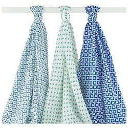 Hudson Baby Ikat Swaddle Blanket Muslin 3pk, Blue