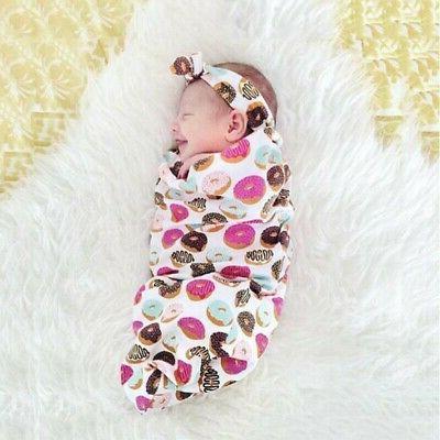Infant Deer Blanket Newborn Muslin Wrap+Headband