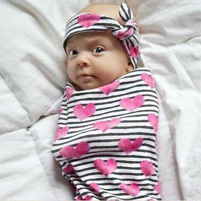 Infant Baby Deer Swaddle Blanket Warm Muslin Wrap+Headband