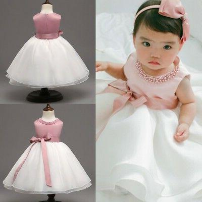 infant baby girls flower baptism christening dress