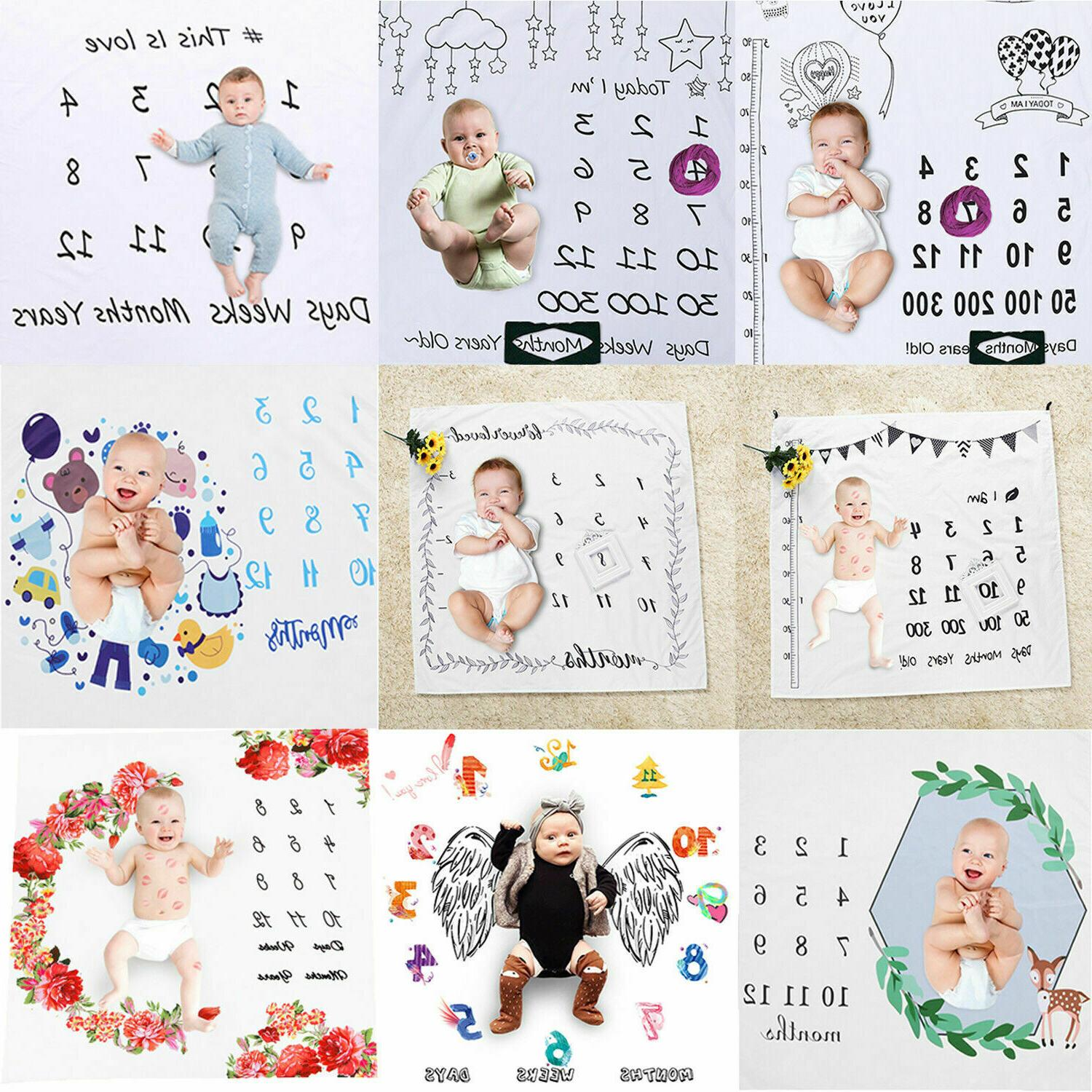 infant baby monthly growth milestone blanket photography