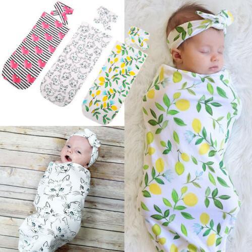Infant Swaddle Baby Wrap Headband USA wea