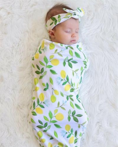 Infant Baby Sleeping Swaddle Muslin Wrap Headband wea
