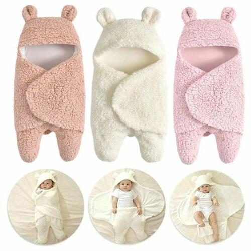 Infants Newborn Baby Boy Girl Soft Fleece Warm Swaddle Wrap