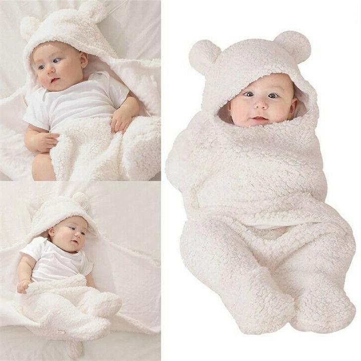 Infant Girl Soft Fleece Warm Swaddle Wrap Blanket Sleeping Bag