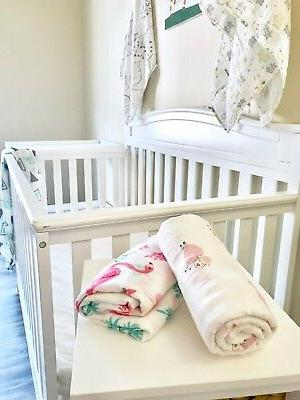 Kunininbaby Flamingo Muslin Swaddle Blanket-70%Bamboo30%Cotton-47inX47in