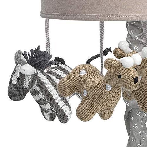 Lambs & Safari Tan/Gray Giraffe/Zebra Baby Crib