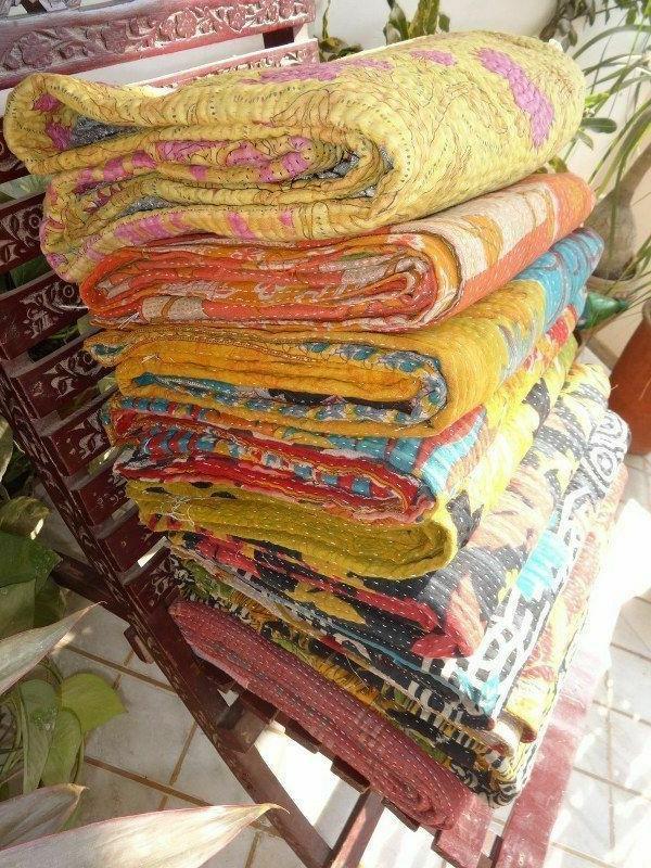 WHOLESALE LOT INDIAN KANTHA VINTAGE BLANKET THROW QUILT HIPPY BOHEMIAN BEDSPREAD
