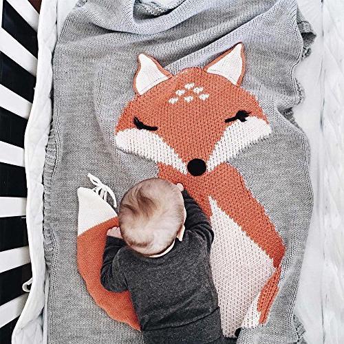 kids fox knitting blanket bedding