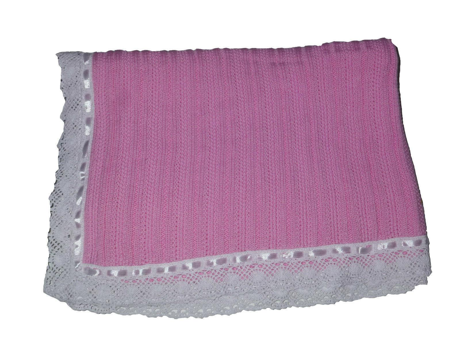 knit baby blanket pink w white lace