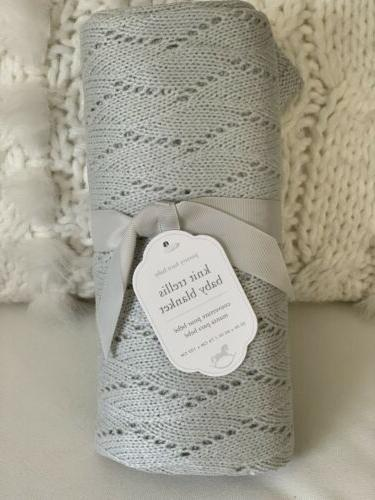 knit trellis baby blanket grey 30x40 unisex