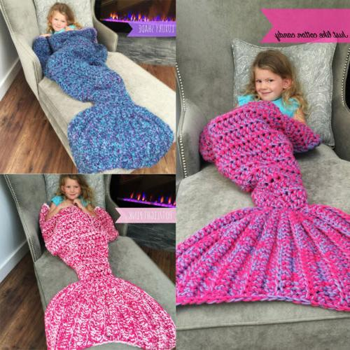 Knitted Mermaid Tail Blanket for kids Living Room Sleeping B