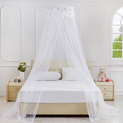 lace flower embroidered bed canopy