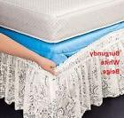 "Lace Wrap Around Bed Dust Ruffle White Beige Burgundy 14"" Dr"