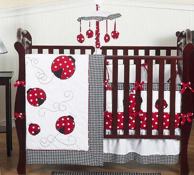 Sweet Jojo Designs Lady Bug Red Polka Dot Baby Girl Crib Bed