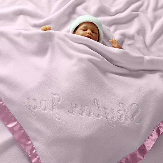 large personalized baby blanket pink 36x36 inch
