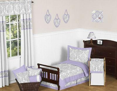 Lavender, Gray and White Elizabeth Damask Print Girl Toddler