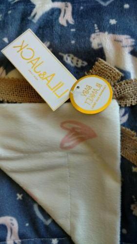 LILA Blanket Girls Lovey Soft Pink Navy Blue NEW
