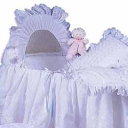 BabyDoll Little Angel Bassinet Liner/Skirt & Hood, White Rib