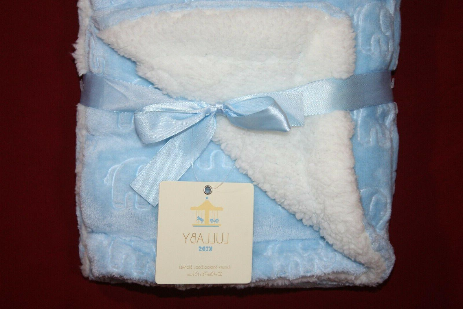 Lullaby Kids Luxury Sherpa Baby Blanket Blue Embossed Elephant 30x40""