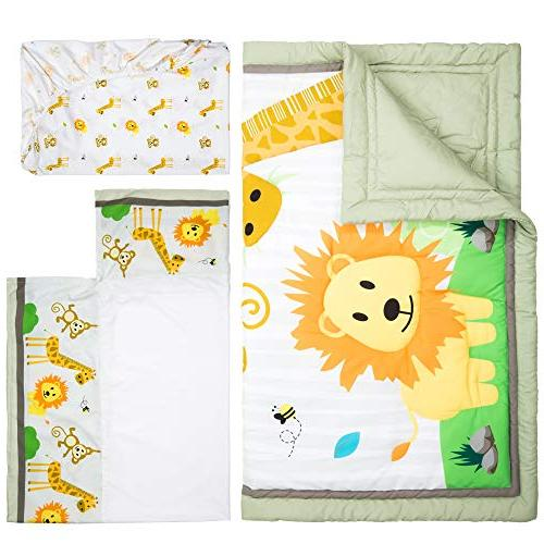 Cocoon Luxurious Zoo Baby Crib Boys Girls 3-PC Fitted Comforter Skirt